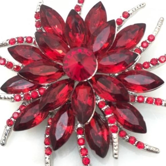 Cherryl's Jewelry - Red Crystal Brooch